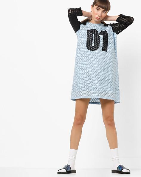 Dress With Contrast Raglan Sleeves By AJIO ( Blue )