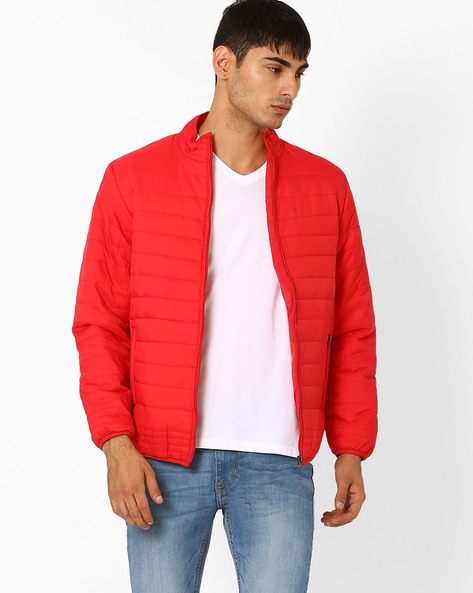 Regular Fit Quilted Bomber Jacket By Fort Collins ( Red )