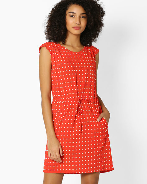 Polka-Dot Print Shift Dress By RIO ( Orange )