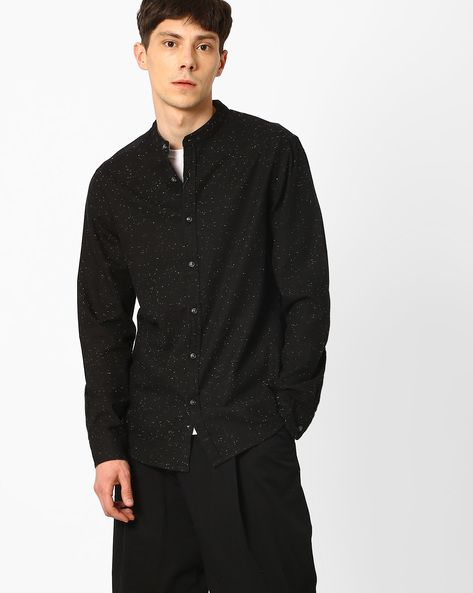 Slim Fit Shirt With Mandarin Collar By AJIO ( Black )