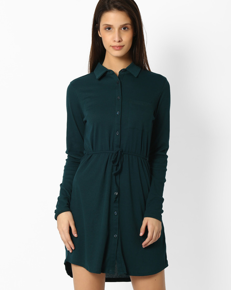 Shirt Dress With Waist Tie-Up By DNM X ( Turquoise )