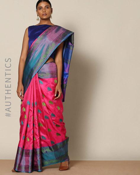 Pure Silk Woven Designer Saree By Rudrakaashe-MSU ( Pink )