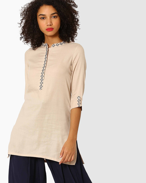 Tunic With Roll-Tab Sleeves By AJIO ( Beige )