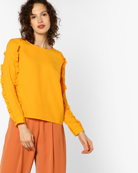 Top With Ruffled Panels By AJIO ( Yellow )