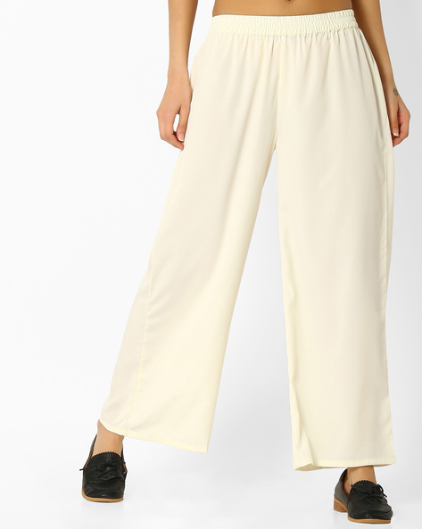 Palazzo Pants With Elasticated Waistband By AURELIA ( White )