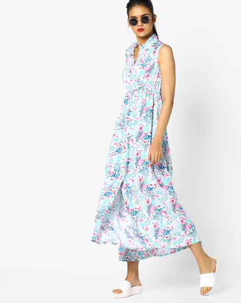 Floral Print Maxi Dress By Project Eve WW Casual ( Offwhite )