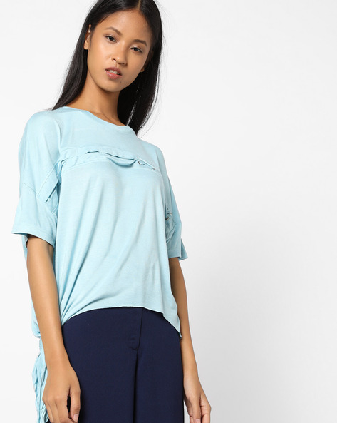 Crew-Neck T-shirt With Drop Shoulders By AJIO ( Aqua )
