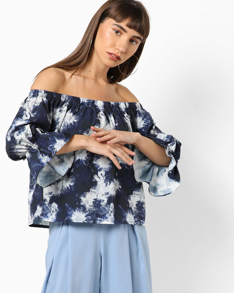 Printed Off-Shoulder Top By AJIO ( Navy )