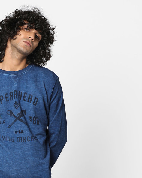 Printed Burnout Sweatshirt By FLYING MACHINE ( Indigo )
