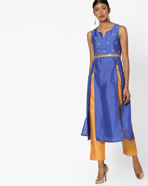 Sleeveless Kurta With Straight Pants By Indian Ink ( Blue )
