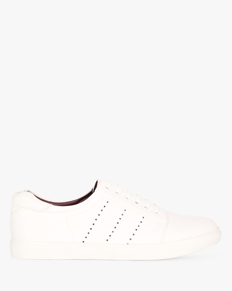 Lace-Up Sneakers With Cut-Outs By SAN FRISSCO ( White )
