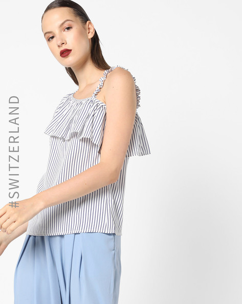 Striped Top With Ruffled Panel By TALLY WEiJL ( White )