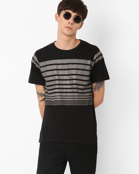 Crew-Neck T-shirt With Printed Stripes By Blue Saint ( Multi )