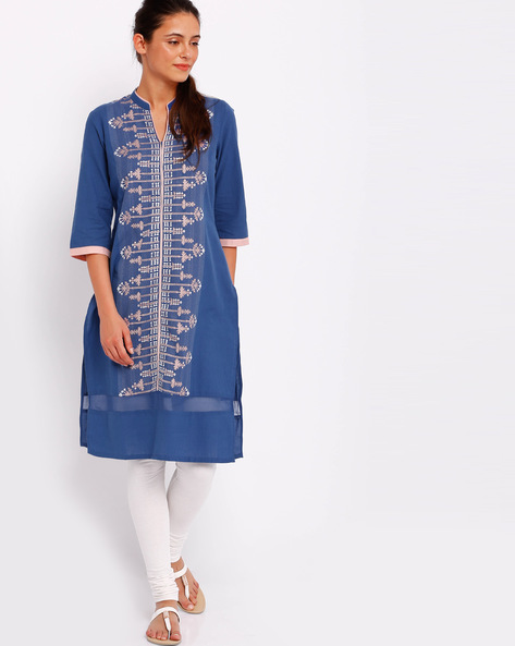 Embroidered Straight Kurta By W ( Blue )