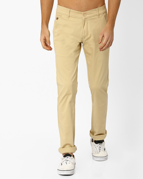 Flat-Front Cotton Trousers By DUKE ( Brown )
