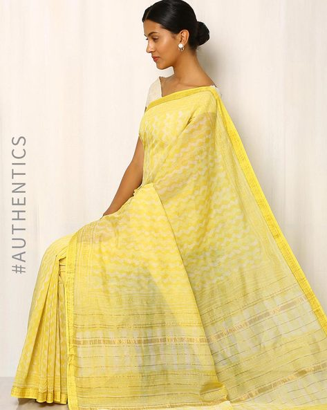 Dabu Print Chanderi Saree With Ghicha Border By Indie Picks ( Yellow )