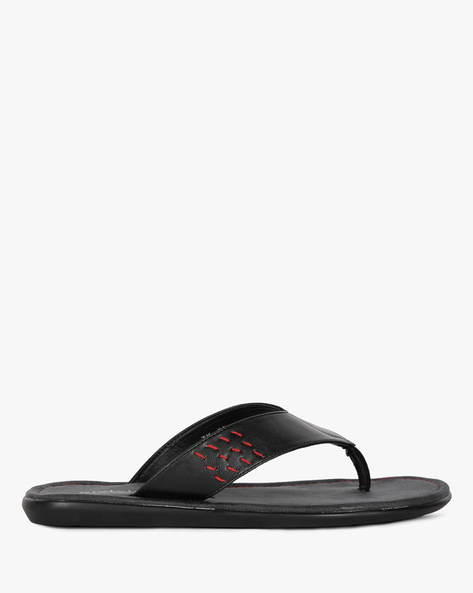 Textured Flip-Flops With Running Stitch Detail By STELVIO ( Black )
