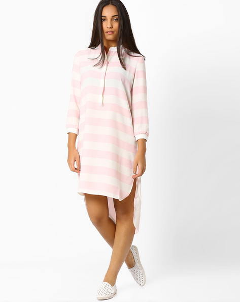 Striped High-Low Tunic By CHEMISTRY ( Lightpink )
