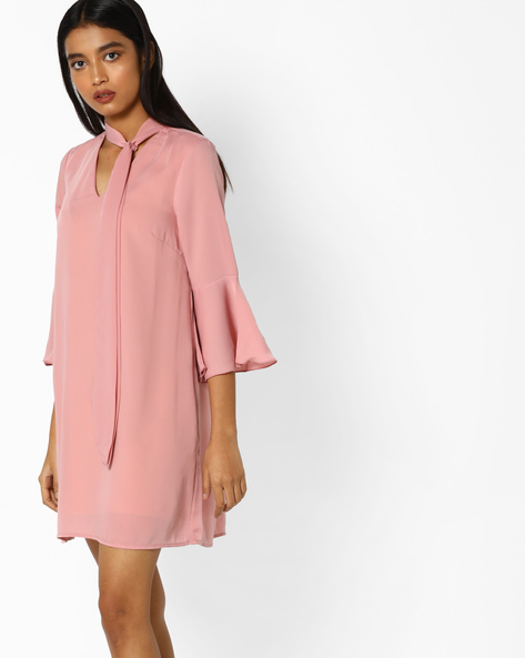 Shift Dress With Bell Sleeves By AJIO ( Lavender )