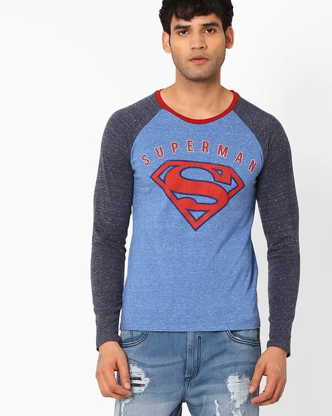 Superman Print T-shirt With Raglan Sleeves By Free Authority ( Navy )