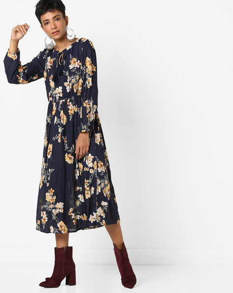 Floral Printed Dress With Tassel Tie-Up By AJIO ( Navy )