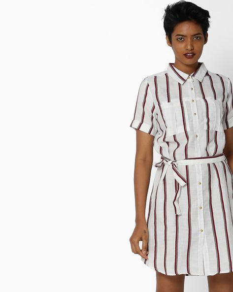 Striped Shirt Dress With Patch Pockets By FIG ( Offwhite )