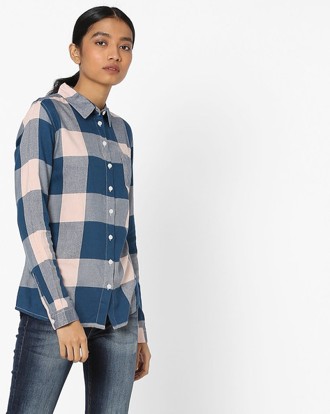 Checked Shirt With Patch Pocket By Pink Woman ( Multi )