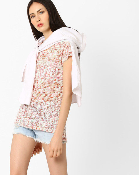 Printed High-Low Top By Fame Forever By Lifestyle ( Coral )
