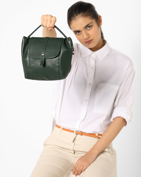 Sling Bag With Flap Closure By Lino Perros ( Green )