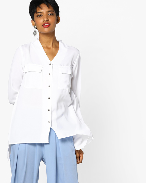 High-Low Shirt With Surplice Back By Project Eve WW Casual ( White )