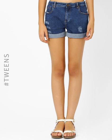 Distressed Denim Shorts By AJIO Girl ( Lightblue )