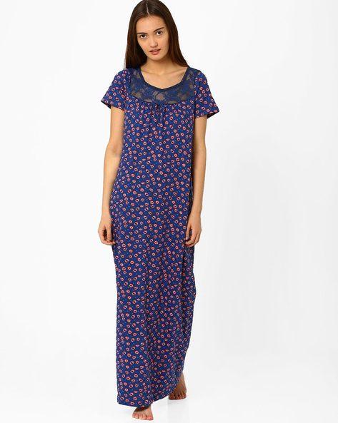 Printed Maxi Nightdress By PrettySecrets ( Blue )