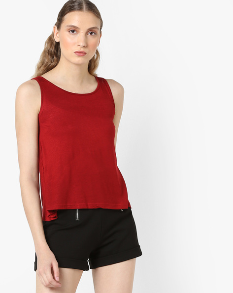 Sleeveless Round-Neck Tank Top By And ( Burgundy )