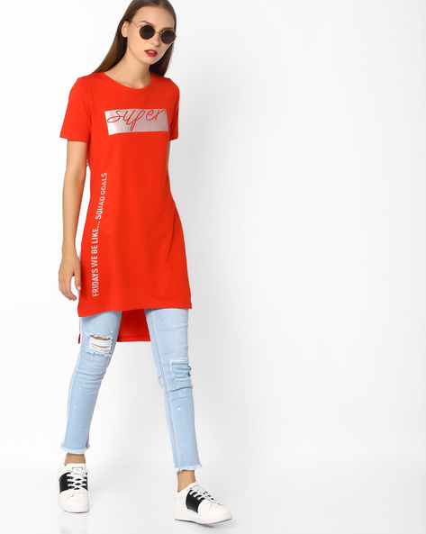 Foil Print High-Low Jersey Tunic By AJIO ( Red )