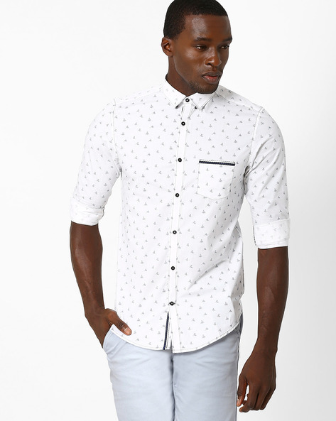 Printed Cotton Slim Shirt By MR.BUTTON ( White )