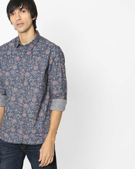 Printed Shirt With Curved Hem By FLYING MACHINE ( Grey )