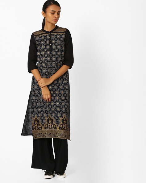 Printed Straight Kurta By AURELIA ( Black )