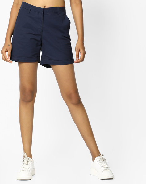 Flat-Front Shorts With Upturned Hems By PE WW Casual ( Navy )