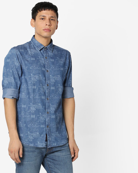 Printed Slim Fit Shirt By US POLO ( Indigo )