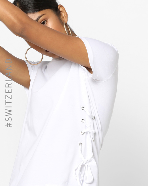 Crew-Neck T-shirt With Tie-Up By TALLY WEiJL ( White )