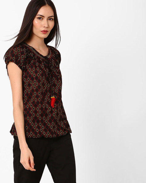 Geometric Print Top With Tie-Up Detail By FUSION ( Black )