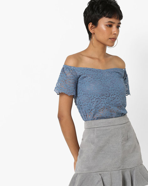 Off-Shoulder Lace Top By AJIO ( Blue )