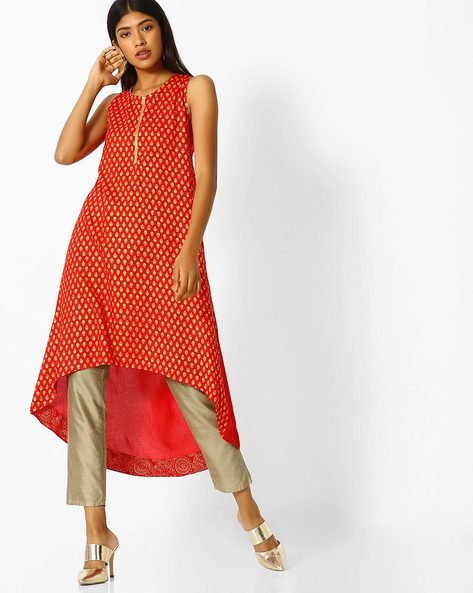 Printed Kurta With High-Low Hemline By AVAASA MIX N' MATCH ( Red )