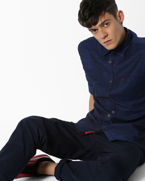 Textured Shirt With Patch Pocket By British Club ( Navyblue )