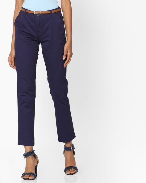 Mid-Rise Flat-Front Chinos By Pink Woman ( Navyblue )