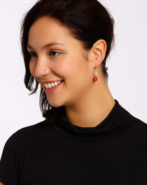 Gold-Plated Dangler Earrings By Shabnam Gitanjali ( Red )