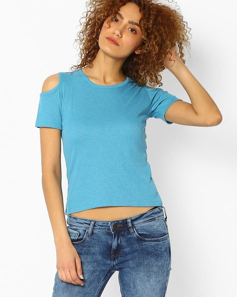 Cold-Shoulder Crew-Neck Top By Ginger By Lifestyle ( Blue )