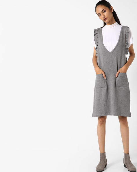 Sleeveless Dress With Ruffles By Evah London ( Charcoal )