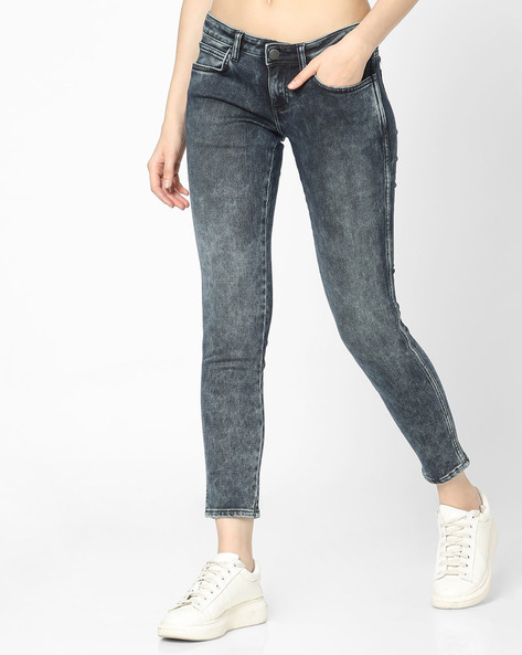 Low-Rise Skinny Jeans By WRANGLER ( Charcoal )