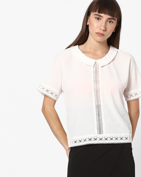 Crew-Neck Top With Lace Inserts By FIG ( White )